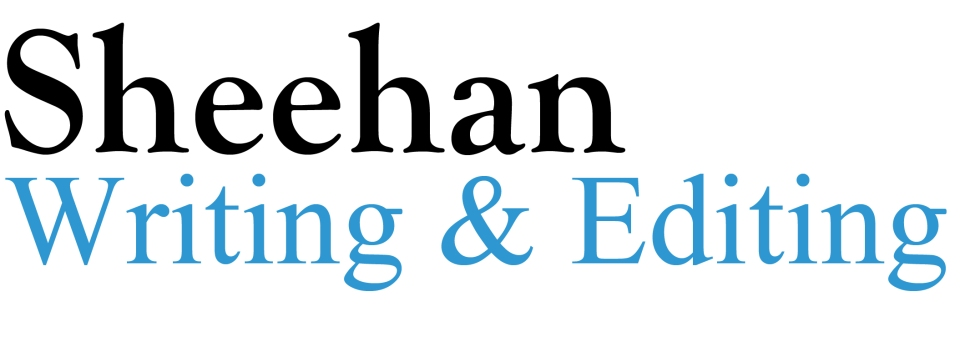 Image is a logo that says Sheehan Writing & Editing in black and blue colors